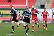 Gareth Anscombe of Cardiff Blues © runs in to score his teams 3rd try. Guinness Pro12 rugby match, Scarlets  v Cardiff Blues at the Parc y Scarlets in Llanelli, West Wales on Saturday 2nd April 2016.<br /> pic by  Andrew Orchard, Andrew Orchard sports photography.