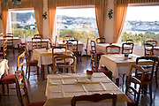 Restaurant of the Hotel Rocamar in Cadaques, Spain, on the Costa Brava.