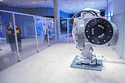 Mimus by Madeline Gannon using a curious dog like robot supplied by ABB Robotics - The Design Museum has moved to Kensington High Street from its former home as an established London landmark on the banks of the river Thames.  The new museum will be devoted to contemporary design and architecture, an international showcase for the many design skills at which Britain excels and a creative centre, promoting innovation and nurturing the next generation of design talent. His Royal Highness toured the museum to view the transformation of a modernist building from the 1960s, which was the former Commonwealth Institute.  17  November 2016, London.