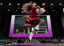© Licensed to London News Pictures. 31/07/2012. London, UK.  Cheerleaders perform onstage between acts at BT London Live at Hyde Park. Photo credit : Richard Isaac/LNP