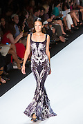 Black, gray and white print long sleeveless gown with a flared bottom. By Monique Lhuillier at Spring 2013 Fall Fashion Week in New York.