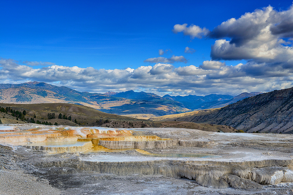 The majestic view north into Montana from atop the Mammoth Hot Springs terraces.