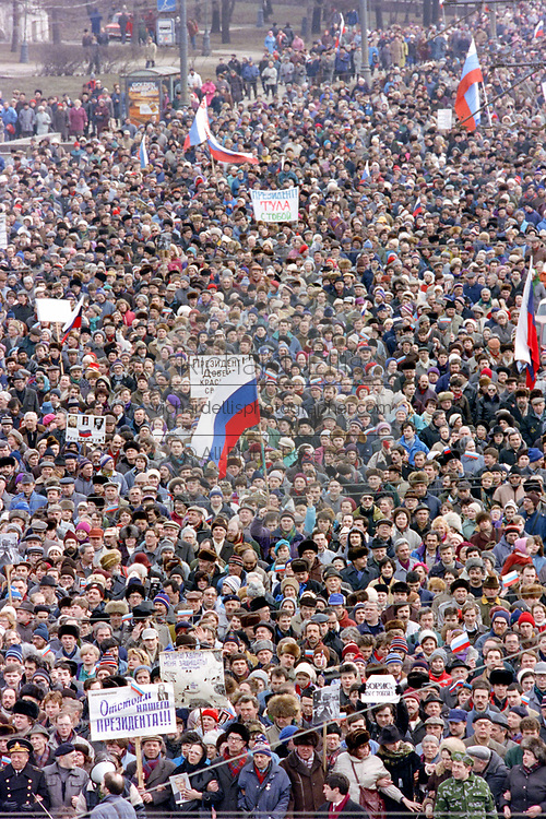 Tens of thousands of Russian citizens join a mass rally in support of President Boris Yeltsin at Red Square March 28, 1993 in Moscow, Russia. The supporters marched through central Moscow ending in Red Square where Yeltsin addressed the crowd.