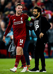 Jordan Henderson of Liverpool celebrates with Mohamed Salah of Liverpool after victory over Barcelona to make the Champions League Final - Mandatory by-line: Robbie Stephenson/JMP - 07/05/2019 - FOOTBALL - Anfield - Liverpool, England - Liverpool v Barcelona - UEFA Champions League Semi-Final 2nd Leg