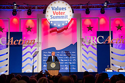 October 13, 2017 - Washington, DC, United States of America - U.S. President Donald Trump addresses the Values Voter Summit annual gathering of Christian leaders October 13, 2017 in Washington, D.C. Trump is the first sitting president to attend the event hosted by the Family Research Council, a group that has been labeled a hate group by the Southern Poverty Law Center. (Credit Image: © Shealah Craighead/Planet Pix via ZUMA Wire)