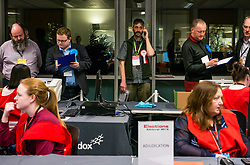 Pictured: Leith Walk Council By-Election. Edinburgh City Council, Edinburgh, Scotland, 11 April 2019. Pictured: David Don Jacobsen, Socialist Labour Party candidate on his phone. 25,526 residents are registered to vote in one of the most densely populated areas in Scotland under the Single Transferable Vote (STV) system. This is the first time in Scotland that an STV by-election has been needed to fill two vacancies in the same ward, held as a result of the resignation of Councillor Marion Donaldson. The election fielded 11 candidates, including the first ever candidate for the For Britain Movement in Scotland, Paul Stirling, founded by former UKIP leadership candidate Anne Marie Waters in March 2018.<br /> <br /> Sally Anderson | EdinburghElitemedia.co.uk