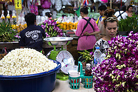 """Pak Khlong Talat or """"market at the mouth of the canal"""" is a flower market in Bangkok that sells not only flowers, but fruits and vegetables as well. It is the primary flower market in Bangkok. The market accommodates both consumers and wholesalers and has a wide variety of customers. Many local florists visit the market in the early morning hours to stock their shops for the coming day."""