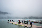 Aiguebelette, FRANCE, General View of the boating area.  2015 FISA World Rowing Championships, Venue, Lake Aiguebelette - Savoie. <br /> <br /> Friday  04/09/2015  [Mandatory Credit. Peter SPURRIER/Intersport Images]. © Peter SPURRIER, Atmospheric, Rowing