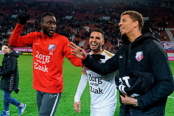 Lamine Sane #20 of FC Utrecht, Adam Maher #6 of FC Utrecht and Justin Lonwijk #18 of FC Utrecht celebrate after the semi final KNVB Cup between FC Utrecht and Ajax Amsterdam at Stadion Nieuw Galgenwaard on March 04, 2020 in Amsterdam, Netherlands