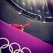 A fan of the Czech Republic blows a horn while his team faced Sweden on Wednesday, Feb. 12, 2014. Photographed during the Winter Olympics in Sochi, Russia with an iPhone and Instragram. (Brian Cassella/Chicago Tribune) B583527420Z.1 <br /> ....OUTSIDE TRIBUNE CO.- NO MAGS,  NO SALES, NO INTERNET, NO TV, CHICAGO OUT, NO DIGITAL MANIPULATION...