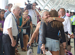 Families of Caribbean hurricane evacuees who arrived on board the Royal Caribbean Adventure of the Seas, greet their relatives, Tuesday, Oct. 3, 2017, at Port Everglades in Fort Lauderdale. More than 3,000 people from Puerto Rico and the U.S. Virgin Islands were brought to Florida on board the cruise ship. Photo by Joe Cavaretta/Sun Sentinel/TNS/ABACAPRESS.COM