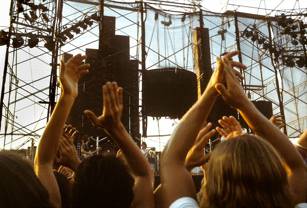The Grateful Dead perform Live at Dillon Stadium Hartford CT on 31 July 1974. The Wall Of Sound. Enthusiastic clapping, hands over heads.