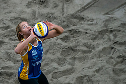 Emi van Driel in action during the last day of the beach volleyball event King of the Court at Jaarbeursplein on September 12, 2020 in Utrecht.