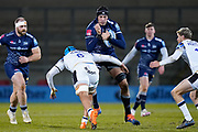 Sale Sharks lock JP Du Preez is tackled by Bath Rugby's No.8 Zach Mercer during a Gallagher Premiership Round 9 Rugby Union match, Friday, Feb 12, 2021, in Leicester, United Kingdom. (Steve Flynn/Image of Sport)