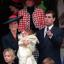 File photo dated 23/12/90 of the Duchess of York with their second daughter Princess Eugenie Victoria Helena after her christening at sandringham church. The Duke and Duchess of Sussex are preparing for the christening of their son Archie, which will take place on Saturday.