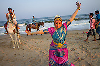 Chennai, India | 2015<br /> Hema Ramaswamy poses for pictures at Valmiki Beach after performing for an audience of special needs children at a nearby auditorium as part of Chennai's Music Season, a winter festival of music, dance, and cultural events throughout the city.