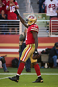 San Francisco 49ers wide receiver Marquise Goodwin (11) celebrates catching a long pass against the Arizona Cardinals at Levi's Stadium in Santa Clara, Calif., on November 5, 2017. (Stan Olszewski/Special to S.F. Examiner)