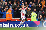 Marko Arnautovic of Stoke City celebrates after scoring his teams 2nd goal. Barclays Premier league match, Stoke city v Manchester city at the Britannia Stadium in Stoke on Trent, Staffs on Saturday 5th December 2015.<br /> pic by Chris Stading, Andrew Orchard sports photography.