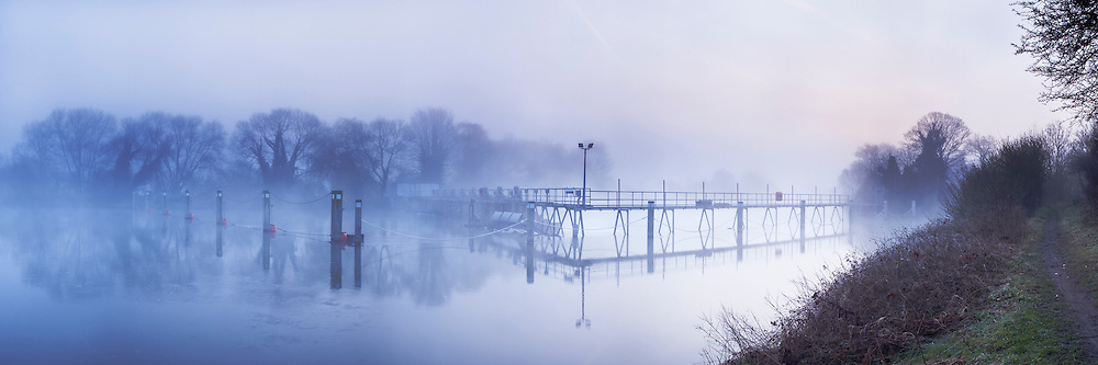 Dawn over the River Thames at Ham Island Weir, Old Windsor, Berkshire, Uk