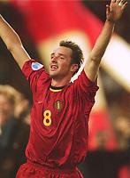 Fotball: VM-kvalifisering. Belgia-Skottland 2-0.<br /><br />2:0 Jubel Bart GOOR   Belgien<br />   Belgien - Schottland 2:0