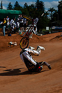 Mienie Donavan (RSA) falls during the practive round at the UCI BMX Supercross World Cup, Pietermaritzburg, 2011