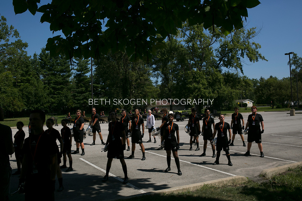 Shadow Drum and Bugle Corps performs in Marion, Indiana on August 5, 2019. <br /> <br /> Beth Skogen Photography - www.bethskogen.com