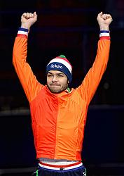 25-01-2015 NED: ISU European Championships Shorttrack, Dordrecht<br /> Sjinkie Knegt pakt het goud en is Europees kampioen