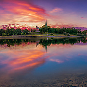 www.aziznasutiphotography.com                                                        Picture has been taken in a beautiful sunset time over Nidelva  and Nidaros Cathedral in Trondheim