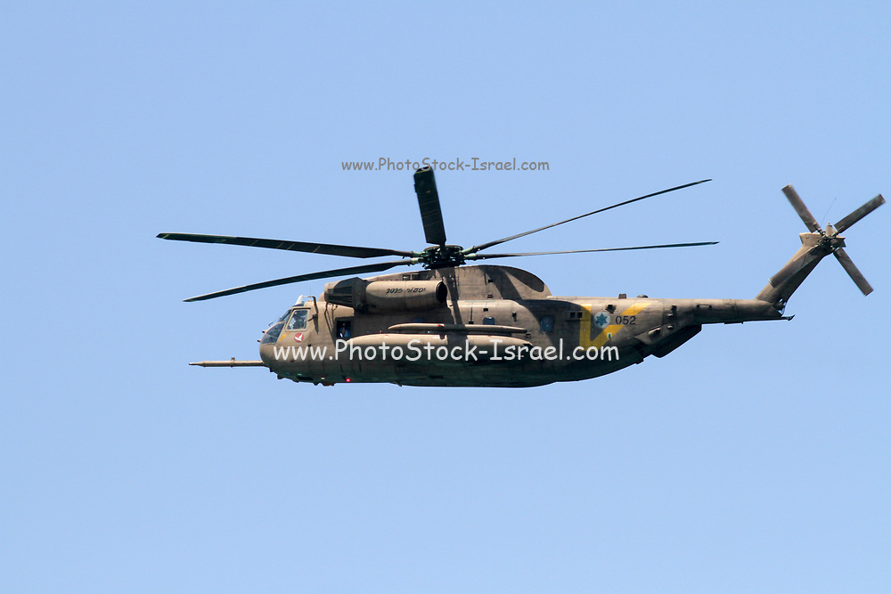 Israeli Air force IAF Sikorsky CH-53 Sea Stallion helicopter in flight IAF code named Yasur