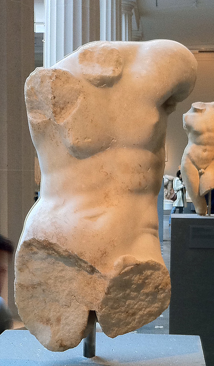 Part of a marble statue of a man. Roman copy of a Greek statue. 1-2 nd Century AD