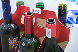 Carton of wine bottles for recycling,