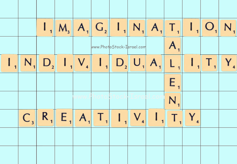 Digitally created Scrabble tiles on a board spelling out Talent, Imagination, Individuality and creativity