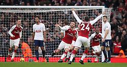 Arsenal's Shkodran Mustafi celebrates scoring his side's first goal of the game