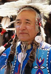 North America, United States, Washington, Seattle, Native American dancer at powwow.  MR