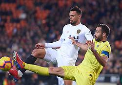 January 26, 2019 - Valencia, U.S. - VALENCIA, SPAIN - JANUARY 26: Francis Coquelin, midfielder of Valencia CF competes for the ball with Mario Gaspar, defender of Villarreal CF during the La Liga match between Valencia CF and Villarreal CF at Mestalla stadium on January 26, 2019 in Valencia, Spain. (Photo by Carlos Sanchez Martinez/Icon Sportswire) (Credit Image: © Carlos Sanchez Martinez/Icon SMI via ZUMA Press)