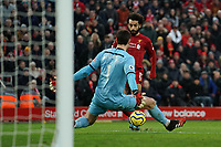 Football - 2019 / 2020 Premier League - Liverpool vs. Southampton<br /> <br /> Liverpool's Mohamed Salah scores his sides third goal <br /> <br /> Colorsport / Terry Donnelly