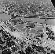 Y-620608B-02. Aerials of Colesium and area of NE between Broadway & Steel Bridges. Portland, Oregon. June 8, 1962