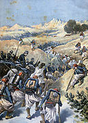 Soldiers of the French Foreign Legion engaging Algerian brigands in battle.  From 'Le Petit Journal', Paris, 23 December 1893.   France, North, Africa, Colonialism,  Military, Army, Zouave