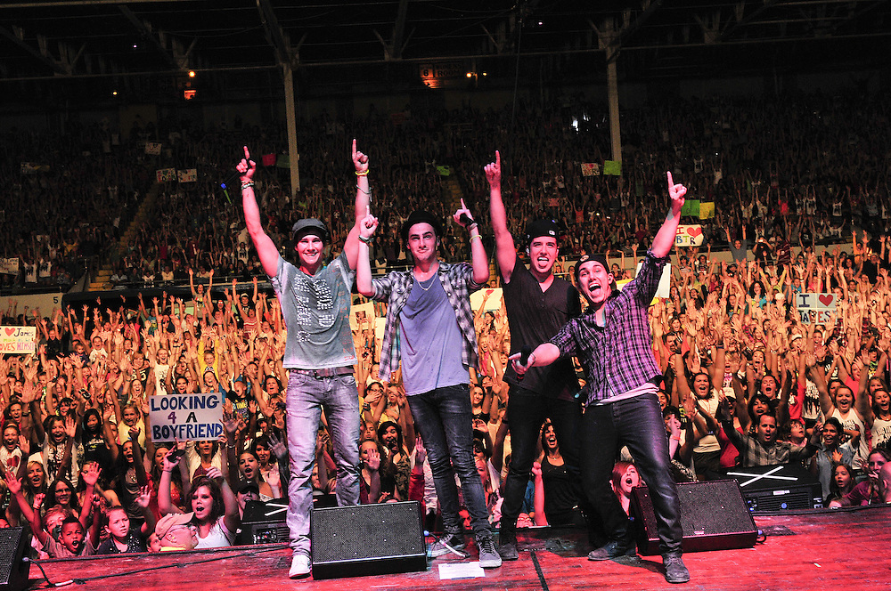 YORK, PA - September 10, 2011:<br /> Big Time Rush (Carlos Pena, James Maslow, Kendall Schmidt, Logan Henderson) Just The Tip Tour 2011 on September 10, 2011 York, Pennsylvania at The York Fair Grandstand in York, Pennsylvania. (Photo by Lisa Lake/GettyImages for Nickelodeon.