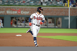 May 15, 2018 - Atlanta, GA, U.S. - ATLANTA, GA Ð MAY 15:  B raves center fielder Ender Inciarte (11) circles the bases after hitting a solo home run in the 4th inning during the game between Atlanta and Chicago on May 15th, 2018 at SunTrust Park in Atlanta, GA. The Chicago Cubs defeated the Atlanta Braves by a score of 3 -2.  (Photo by Rich von Biberstein/Icon Sportswire) (Credit Image: © Rich Von Biberstein/Icon SMI via ZUMA Press)