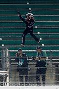 the NASCAR truck series race at Kansas Speedway in Kansas City, Kan., Friday, May 11, 2018. (AP Photo/Colin E. Braley)