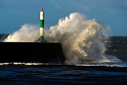 © Licensed to London News Pictures. 15/11/2020. Aberystwyth, Ceredigion, UK. Gale force winds and massive waves batters the Welsh seaside resort of Aberystwyth in Ceredigion, UK. Photo credit: Graham M. Lawrence/LNP