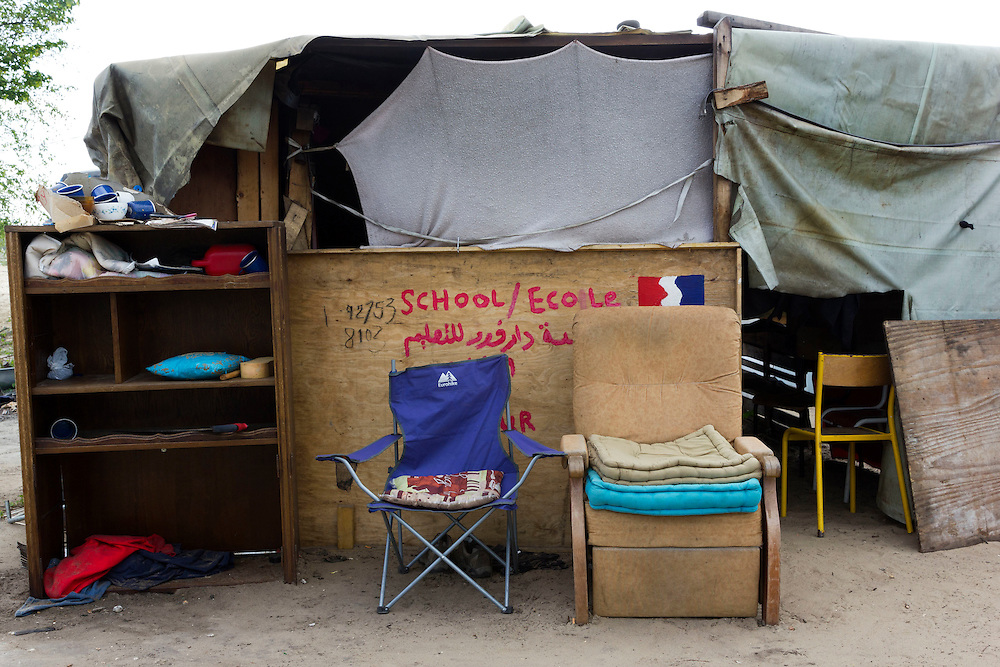 Chairs. The Jungle, Migrant Camp, Calais, France<br /> May 2016 'La Linière'  refugee camp, Grande-Synthe, on the outskirts of Dunkirk, northern France.