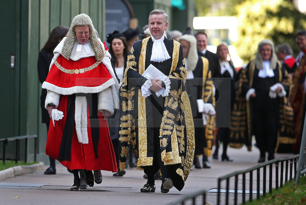 © Licensed to London News Pictures. 01/10/2015. London, UK. The Lord Chancellor and Secretary of State for Justice MICHAEL GOVE (2R) walks with The Lord Chief Justice Baron Thomas of Cwmgiedd as they take part in the annual Judges Service at Westminster Abbey. The Service heralds the start of the legal year in the United Kingdom. Photo credit: Peter Macdiarmid/LNP
