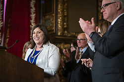 May 2, 2019 - St. Paul, MN, USA - Jenny Teeson receives applause while speaking after the signing. ] LEILA NAVIDI Â¥ leila.navidi@startribune.com ....BACKGROUND INFORMATION: Gov. Tim Walz signs into law a repeal of the state's pre-existing relationship defense at the Capitol in St. Paul on Thursday, May 2, 2019. The law was championed through the legislative process by Jenny Teeson, who survived years of sexual assault by her now ex-husband, who used their pre-existing relationship as a defense in court and was ultimately only charged with misdemeanor invasion of privacy. Teeson attended the signing ceremony with her parents Jerry and Terri Teeson. (Credit Image: © Leila Navidi/Minneapolis Star Tribune via ZUMA Wire)