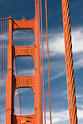 The cables and tower of the Golden Gate Bridge in San Francisco, Caliornia.