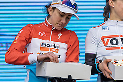 Christine Majerus can't wait to tuck into her cake awarded for second place - Drentse 8, a 140km road race starting and finishing in Dwingeloo, on March 13, 2016 in Drenthe, Netherlands.