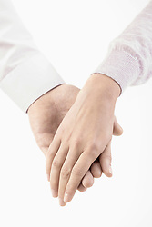 Close-up of man holding hand of woman, Bavaria, Germany