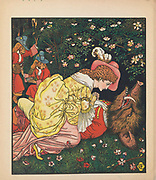 """Beauty and the beast by Walter Crane, Edmund Evans, Published in London & New York by George Routledge and Sons in 1874. Beauty and the Beast (French: La Belle et la Bête) is a fairy tale written by French novelist Gabrielle-Suzanne Barbot de Villeneuve and published in 1740 in La Jeune Américaine et les contes marins (The Young American and Marine Tales). Its lengthy version was abridged, rewritten, and published by Jeanne-Marie Leprince de Beaumont in 1756 in Magasin des enfants (Children's Collection) to produce the version most commonly retold and later by Andrew Lang in the Blue Fairy Book of his Fairy Book series in 1889. It was influenced by Ancient Greek stories such as """"Cupid and Psyche"""" from The Golden Ass, written by Lucius Apuleius Madaurensis in the 2nd century AD, and The Pig King, an Italian fairytale published by Giovanni Francesco Straparola in The Facetious Nights of Straparola around 1550."""