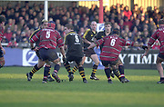 Gloucester, Gloucestershire, UK., 04.01.2003, Wasp's Joe WORLSEY, shields the ball from [L] Mark CORNWELL, and [R] Jake BOER,  during, Zurich Premiership Rugby match, Gloucester vs London Wasps,  Kingsholm Stadium,  [Mandatory Credit: Peter Spurrier/Intersport Images],